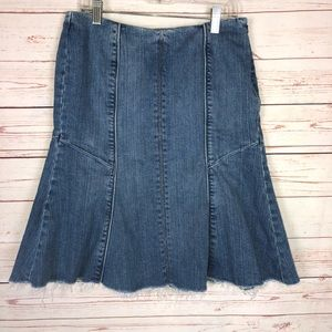 WHBM Blanc Denim Tulip Skirt With Raw Hem Size 2